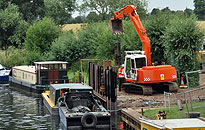13 tonne excavator working from the bank side