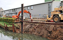 Re-instating the river bank at Jordan's factory site in Biggleswade